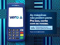Campanha publicitária da Vero destaca maquininha grátis a empresas que adotam delivery
